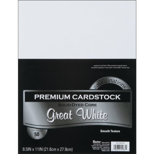 Darice GX-2200-06 50-Piece Card Stock Paper, 8.5 by 11-Inch, White - 11