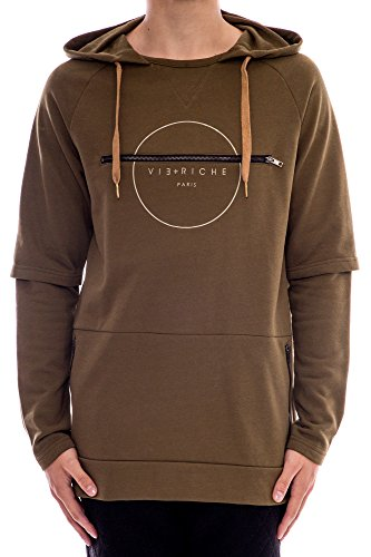 Vie + Riche Men's Zipper Back French Terry Hoodie Sweatshirt-Army Green-S by Vie Riche