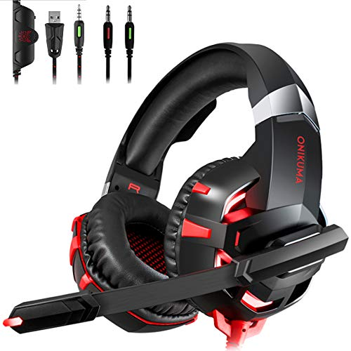 Stereo Gaming Headset for PS4, Xbox One, Nintendo Switch, PC, PS3, Mac, Laptop, Over Ear Headphones PS4 Headset Xbox One Headset with Surround Sound, LED Light & Noise Canceling Microphone RED ()