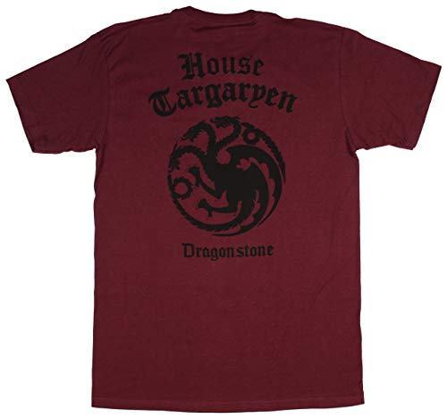 Game of Thrones Shirt Men's House Targaryen of Dragonstone T-Shirt (Maroon, Large)