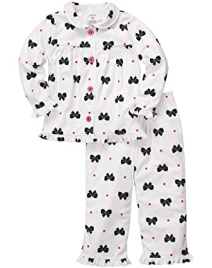 Girls 2-piece Button-front Microfleece Christmas Pajama Set (2T-14)