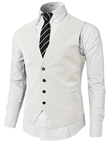 H2H Mens Classic Formal Slim Fit Premium Business Dress Suit Button Down Vests White US L/Asia XL (KMOV0142)