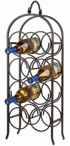 Oenophilia Cathedral Wine Arch, Black - 8 Bottle (Metal Wine Rack Floor)