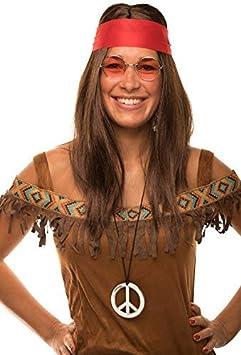Balinco Hippie Conjunto con Peluca + Gafas de Sol Redondas + Colgante Paz + Rojo Pañuelo para Hombre y Mujer Década de los 70 Años Carnaval