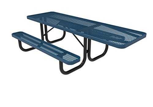 Coated Outdoor Furniture T8H-LBL Rectangular Portable Picnic Table, Handicap Accessible on One End, 8 Feet, Light Blue by CoatedOutdoorFurniture