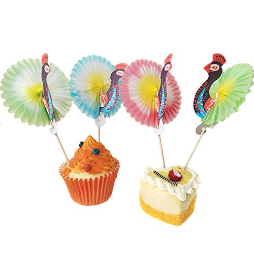 100 Pcs Colorful Disposable Cocktail Picks Peacock for Cupcake/Fruit - 4 Inch Length - Drink Decoration for Hawaiian Party and Pool Party Supplies