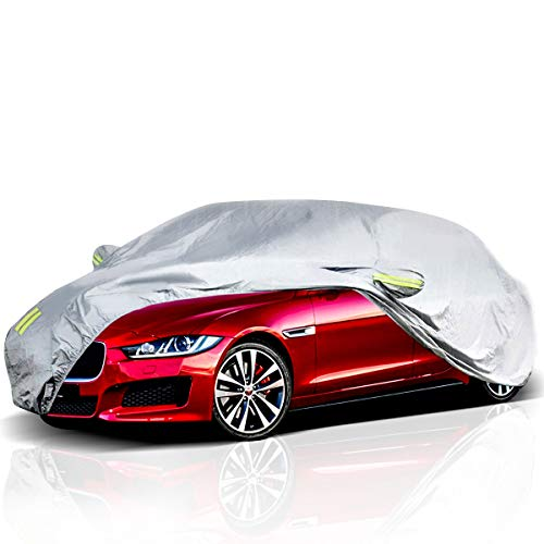 - ELUTO Car Cover Outdoor Sedan Cover Waterproof Windproof All Weather Scratch Resistant Outdoor UV Protection with Adjustable Buckle Straps for Sedan Fits up to 185''(185''L x 70''W x 60''H)