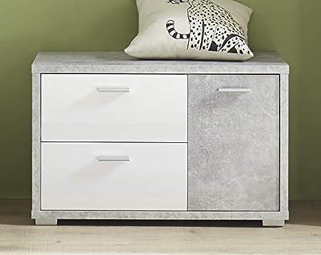 Garderobe MOUNTAIN Komplettgarderobe Garderobenset beton weiß glanz SONDERPREIS