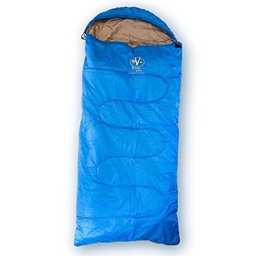 Outdoor Vitals OV-Rascal 40°F Kids Sleeping Bag, 3 Season, Rectangular, Lightweight, Ultralight, Camping, Hiking (Blue, Fits 4'8