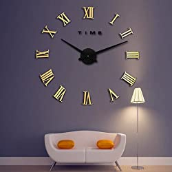 LightInTheBox Wall Clock 3D Oversized Metal Electroplate Home Decor DIY Round Wall Clock, Roman (Gold/Brown)