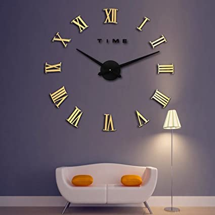 Amazon LightInTheBox Wall Clock 3D Oversized Metal Electroplate Home Decor DIY Round Roman Gold Brown Kitchen