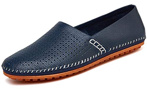Go Tour Men's Classy Slip-on Casual Mocassin Leather Loafers The Go Driving Boat Shoes Blue-P 42