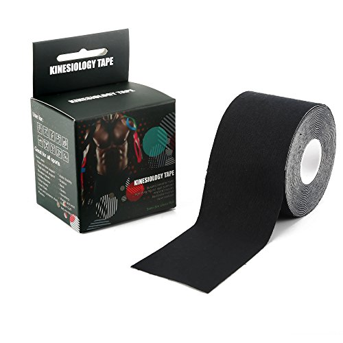 Kinesiology Tape Perfect Support for Sports Athletic Relieve Pain and Sore Muscles Knee Shoulder Back Calf Elbow Neck Wrist Arm and more - Uncut 2 in X 16.4 In / 5 cm x 5 m Roll (Black)