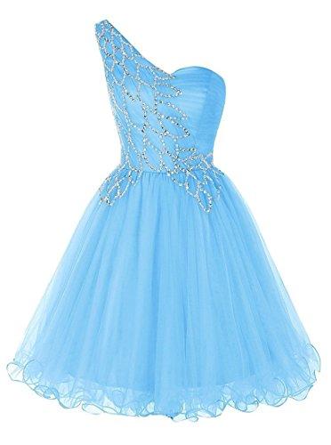 Une Épaule Courte Tulle Robes De Retour À La Maison De Bal Bleu Ciel Est Bess Nuptiaux