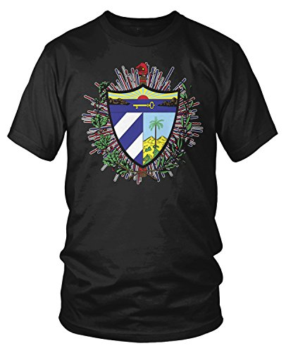 Amdesco Men's Coat of arms of Cuba, Cuban Coat of Arms T-Shirt, Black Large