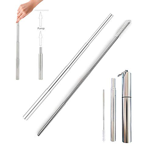 Portable Reusable Drinking Straws - Telescopic Stainless Steel Metal Straw with Detachable Aluminum Case & Cleaning Brush