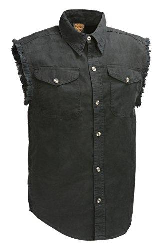 Bikers Edge Men's Sleeveless Button Front Denim Shirt w/Chest Pockets (XX-Large, Black)