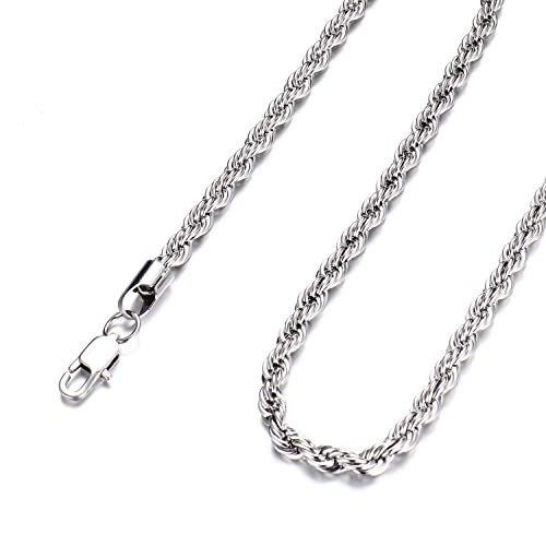 FEEL STYLE 3mm Stainless Steel Chain Necklace Twist Rope French Italian for Men Women 24 Inch