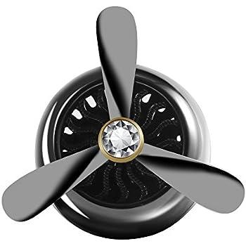 DEALPEAK Mini Car Air freshener Vent Clip Air Essential Oil Conditioner Alloy Fan Fragrance Diffuser Car Perfume Propeller Shape (Black)