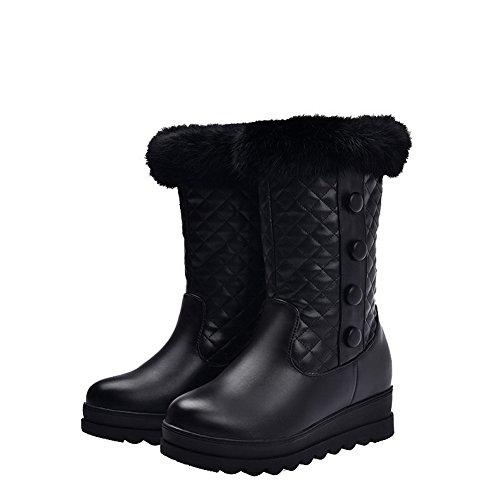AgooLar Damen Mittler Absatz Rein Rund Zehe Weiches Material Ziehen auf Stiefel Schwarz