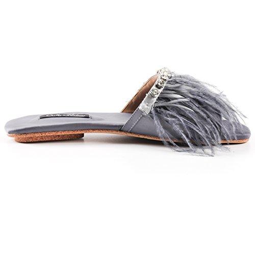 on onlymaker Faux Women's Pompom Sandal Toe Feather with Marabou Slippers Open Grey Rhinestone Slide Flat Mule Fuzzy Slip qEE0rA