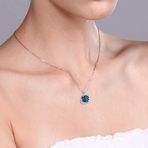 Gem Stone King London Blue Topaz 925 Sterling Silver Pendant Necklace 2.91 Ctw Cushion Cut with 18 inch Chain