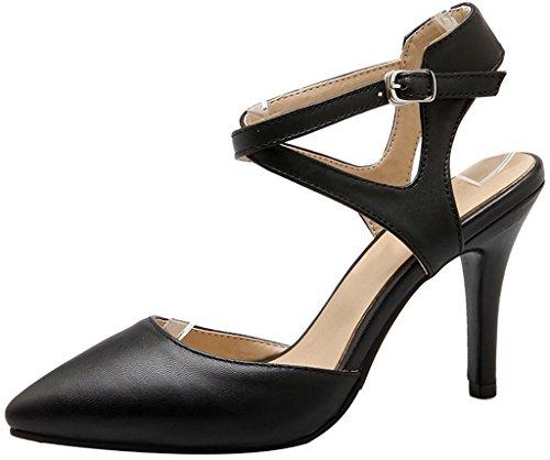 vestir de 9CM Mujer Calaier Zapatos De Tacón Negro Aguja Hebilla Cabuilding Sintético Sandalias wHCvq