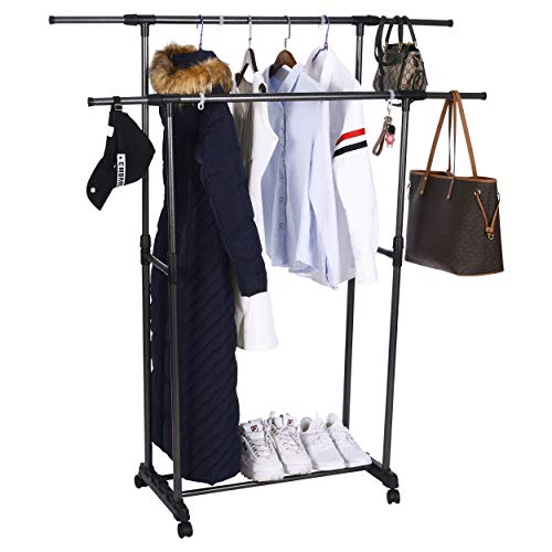 (OBOR Clothes Garment Rack with Wheels 2 Tier Double Rods Height Adjustable Extendable Rods Clothing Hanging Drying Rack Organizer)