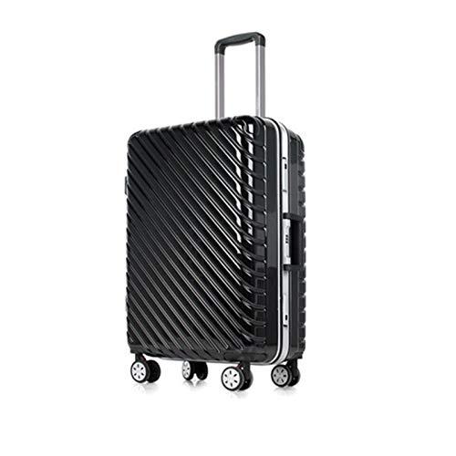 トロリーユニバーサルホイールアルミフレームスーツケース24人の男性と女性搭乗パスワードボックス荷物スーツケースハードボックス (Color : ブラック, Size : 24 inches)   B07R8X776J