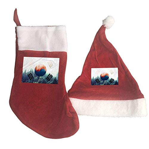 South Korea Flag with Forest Santa Hat & Christmas Stocking Holiday Christmas Decorations Party Accessory -