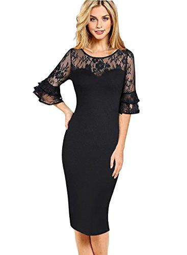 VfEmage Womens Elegant 3/4 Bell Sleeves Work Party Cocktail Sheath Dress 9015 Blk 18