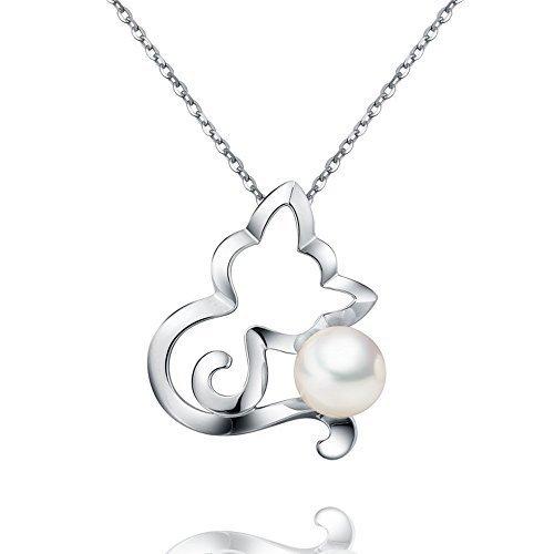 VIKI LYNN Damen Kette Sterling Silber 925 mit echtem Suesswasser Perlen Anhaenger