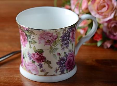 Fine Bone China Mug Reine Victoria Creative Tops Palace tasses roses bleues
