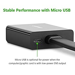 UGREEN DVI to VGA Adapter Single Way 1080p DVI-D to VGA Adapter 24+1 DVI Male to VGA Female Converter Supporting 60Hz and 3D for PC, DVD, Monitor, HDTV and Projector (30cm/11.8inch)