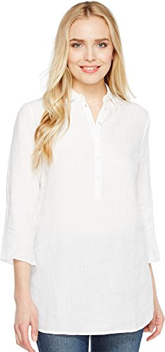 Three Dots Women's Long Sleeve Tunic w/ Front Buttons White (Three Dots Long Sleeve Tunic)
