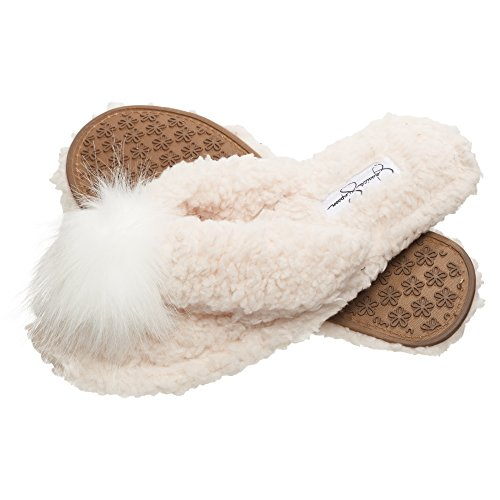 Jessica Simpson Fluffy Pom Pom Thong House Slide On Slippers with Memory Foam (Size Large, Ivory)