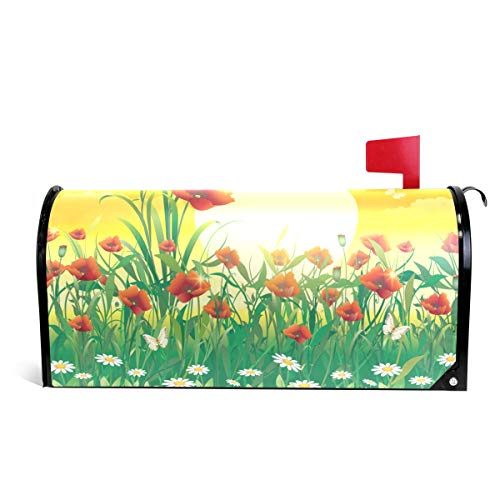 WOOR Flowery Meadow with Poppies Magnetic Mailbox Cover Standard Size-18