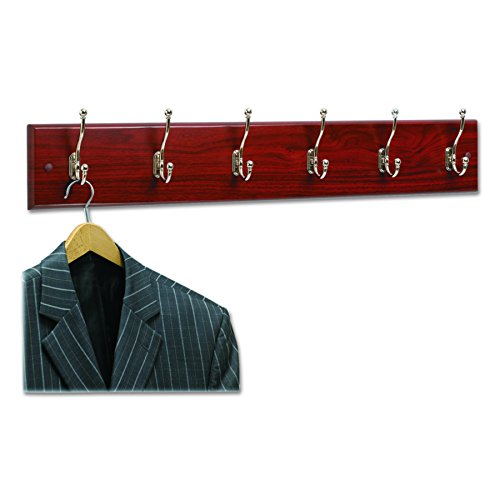 Safco Products 4217MH Wood Wall Rack, 6-Hook,  Mahogany/Silver