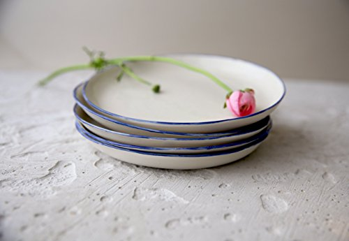 (Modern pottery white porcelain small plate with a blue rim for a serving of salad, dessert, cheese or fruits by SinD studio)