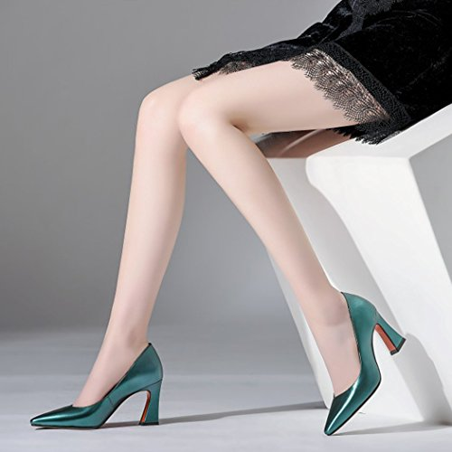 Shoes Four Party Ladies GAOLIXIA Pumps Shoes Seasons High Career Court Office Leather Work Pointed Heels Womens Green S0qwfP