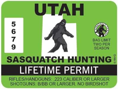 "RDW Utah Sasquatch Hunting Permit - Color Sticker - Decal - Die Cut - Size: 4.00"" x 3.00"""