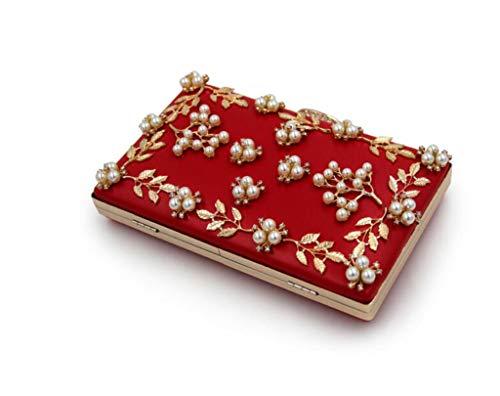 Perle Da ' In Frizione gold Rilievo Di Sera Incrostata Ladies Red Sera Borsa dqnYH6d