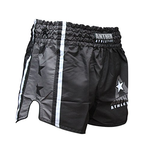 NEW! 10+ Styles - Anthem Athletics RECKONER Retro Muay Thai Shorts - Kickboxing, Thai Boxing, MMA - Black & Grey - Medium
