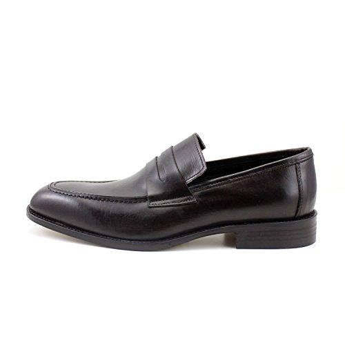 Uomo Moro Mocassini Di Eleganti Scarpe a Italia Penny Loafers Testa Comodi Marroni GIORGIO Classici Vera REA Pelle Fatti Mano in Uomo pqI1RF