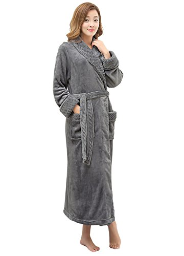 (Women's Long Flannel Bathrobe Ultra Soft Plush Microfiber Fleece Robes,Gray,Small / Medium)