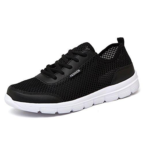 L LOUBIT Men Fashion Sneakers 2018 Summer Brand Walking Shoes Sport Mesh Shoes Black 10 by L LOUBIT