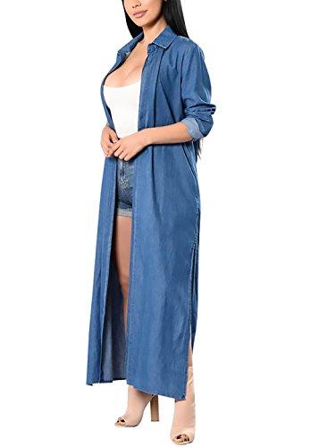 Grande Casual Elegante Ragazze Spacco Lunga Manica Women Blu Giubbotto Classico Sciolto Giacca Trench Jeans Grazioso Autunno Giovane Revers Giacche Lungo Cardigan Donna SqwT5Hx