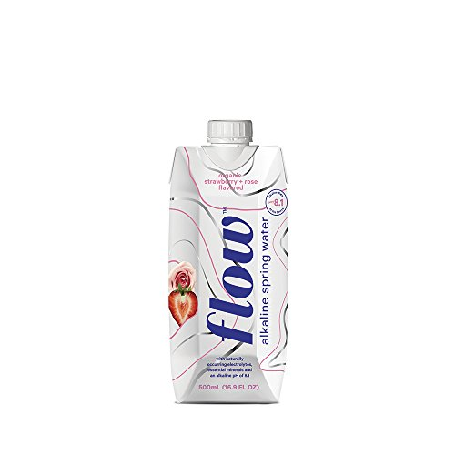 Alkaline Case - Flow Alkaline Spring Water Organic Strawberry + Rose, in eco-friendly packaging - (Pack of 12 x 500ml)