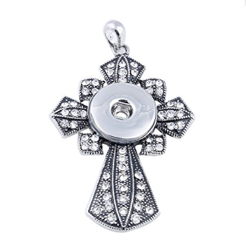 - Snap Jewelry Antique Rhinestone Cross Pendant 18-20mm My Prime Gifts