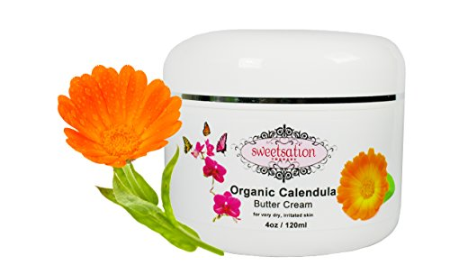 Organic Calendula Soothing Baby Butter Cream for Dry, Irritated Itchy Skin, Eczema, Psoriasis, soothing and healing 4oz. With Calendula, Avocado and Vitamin E. by Sweetsation Therapy